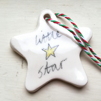 Ceramic Christmas little star tree decoration handmade ornament bauble