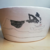 Handmade ceramic dog bowl French bulldog dachshund fox terrier & Jack Russell