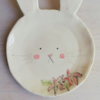 Ceramic bunny rabbit ring or trinket dish handmade pottery spoon rest bunny face