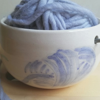 Handmade ceramic yarn bowl with painted wool yarn & knitting holes knitter gift