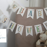 Handmade paper crafted 'Baby Shower' bunting
