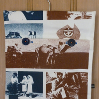 Australian outback tea towel peg bag