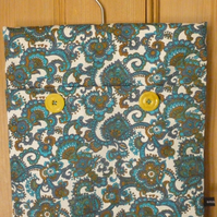 Blue Paisley pattern hang-it-all bag