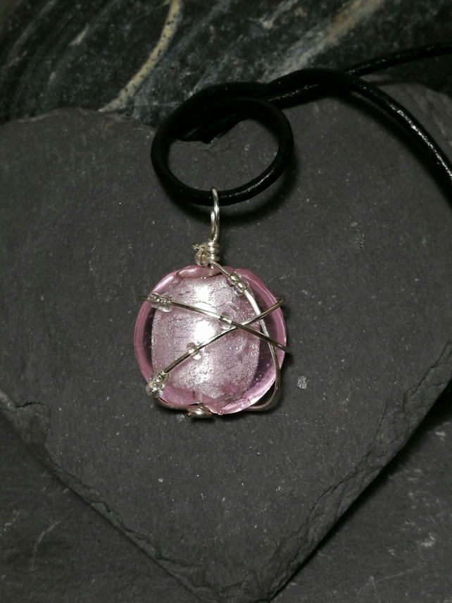 Pink silver foil glass bead and silver wire wrap pendant