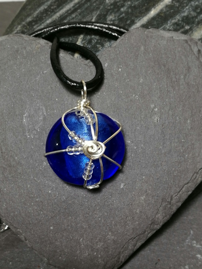 Blue silver foil glass bead pendant necklace