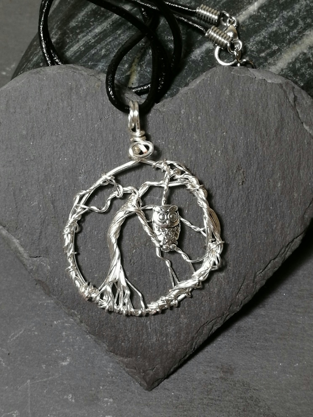 Tree of life and owl pendant necklace