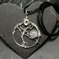 Tree of life and moon pendant necklace