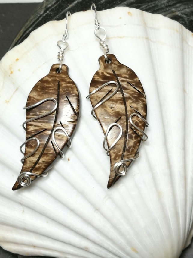 silver wire wrapped leaf earrings