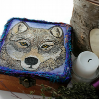Spirit Animal Embroidered Jewellery or Trinket Box - Grey Wolf
