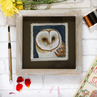 Embroidered Barn Owl Thread Painting