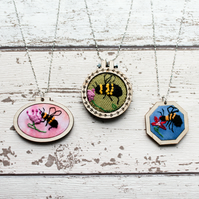 Honey Bee Embroidered mini hoop necklace for bridesmaids or flower girl