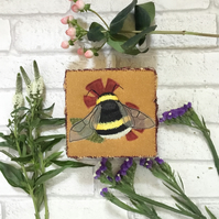 Buff tailed Bumblebee Embroidered Jewellery Box