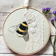 8 inch Embroidered Bumblebee and Vintage Textiles hoop art