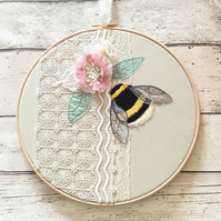 Ten inch Embroidered Bumblebee and Vintage Textiles Hoop Art - Number 1