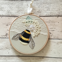 Embroidered Bumblebee and vintage textiles hoop number 3