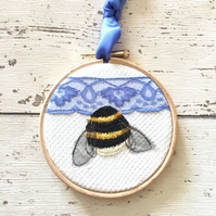 Four inch embroidered Bee Hoop - with blue vintage lace