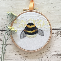4 inch embroidered Bumblebee and vintage lace hoop art -  Yellow