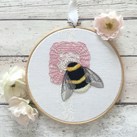 Embroidered Bumblebee Hoop Art with Vintage Textiles Number 2