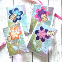 Lovely colourful honey bee and bumblebee art blank cards: Pack of four