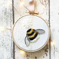 Teeny weeny Bumblebeeny: 4 inch embroidery hoop bee art with vintage textiles
