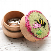 Hand Embroidered Honey Bee Ring Box