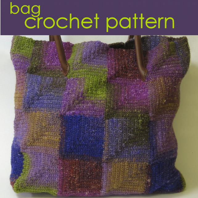 Crocheted Tote Bag, Modular Crochet, Mitred Squares Crochet Pattern PDF