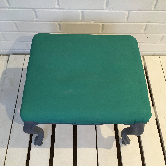 Cool Small Foot Stool Painted In Provence Green Squirreltailoven Fun Painted Chair Ideas Images Squirreltailovenorg
