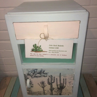 Retro Bedside Table With Cactus Design