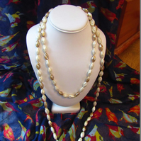 Long White and Beige Beaded Necklace
