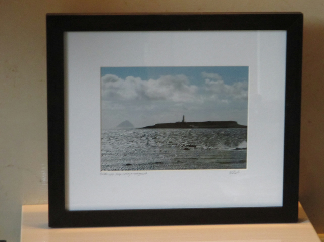 Framed photo of Pladda Lighthouse with Ailsa Craig in background (Black)