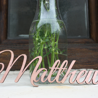 Copper Painted Wooden Wedding Place Names and Favours Bespoke & Personalised