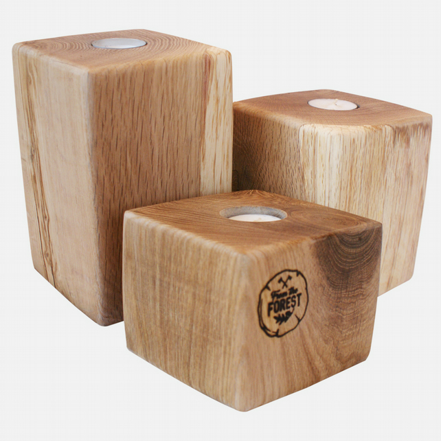3 Tier Solid Oak Candle Holders