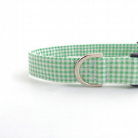 Gingham Dog Collar GREEN (medium or large)