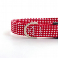 Gingham Dog Collar RED (medium or large)
