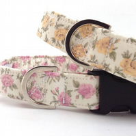 Small Roses Dog Collar PINK (Small)