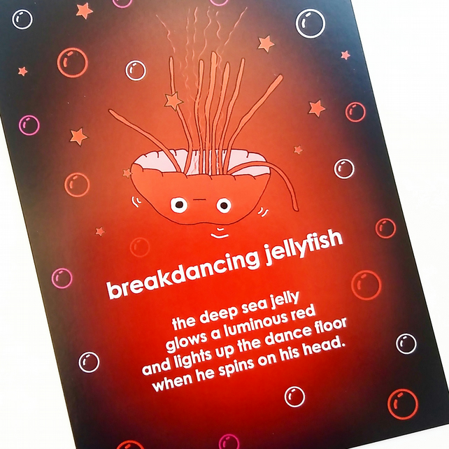 Postcard - breakdancing jellyfish