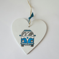 Camper Van heart shaped plaque