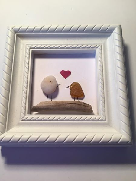 Pebble art bird picture