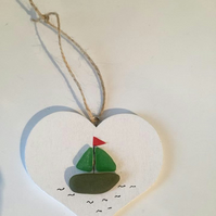 Sea Glass Heart Boat