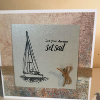 Sail Boat Birthday Card - reduced price
