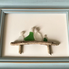 Family Sea Glass on Driftwood Bench Picture