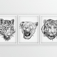 Set of three large cat head black line drawing prints