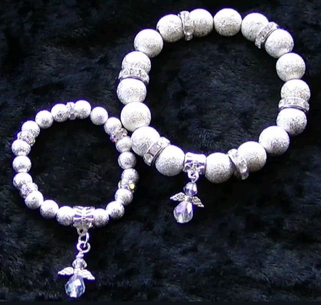 Mum & Baby matching Angel bracelets Memorial