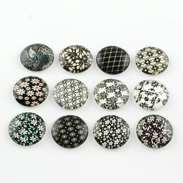 10 Black Floral 12mm Printed Half Round Domed Glass Cabochons (CAB1)