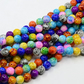 Spray Painted Mixed Colour Glass Round Beads. 8mm (WL134)