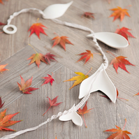 Handmade Hanging Mobile - Ceramics Leaves and Cotton Macrame