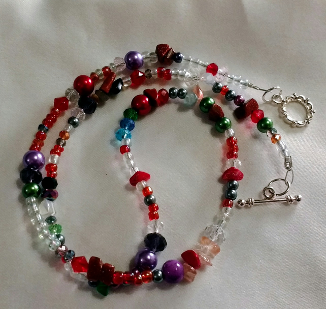 Boho long versatile beaded necklace semi precious stones handmade