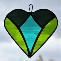 Stained glass love heart in teal green, moss green and dark teal green