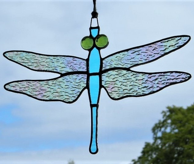 Stained glass Dragonfly iridescent wings, sky blue body and pale green eyes