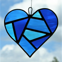 Stained Glass Love Heart in three blues rippling water glass